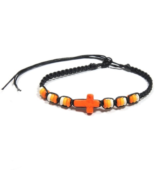 bracelet fantaisie croix orange