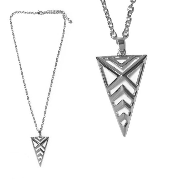 collier fantaisie triangle argente